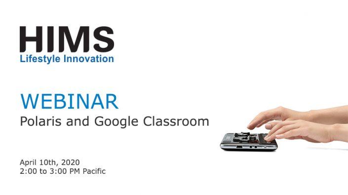 Webinar. Polaris and Google Classroom. Image of hands on a Polaris Notetaker.
