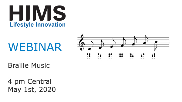 Webinar - Braille Music. 4 pm Central. May 1st, 2020