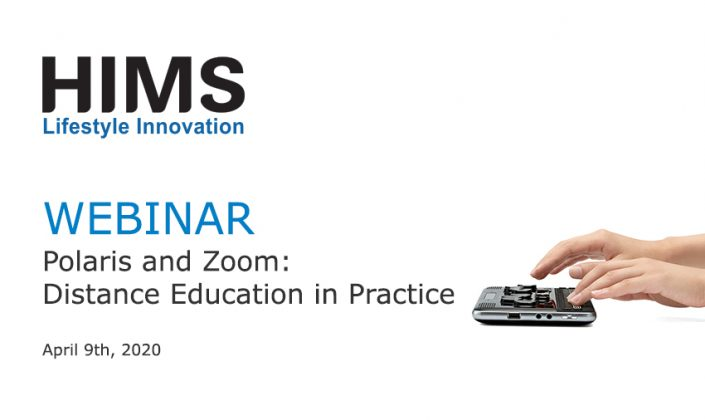 Webinar. Polaris and Zoom: Distance Education in Practice. Image of hands on a Polaris Notetaker.